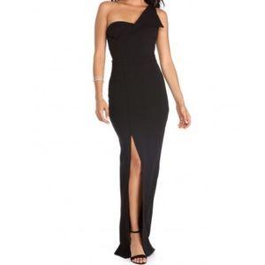 Windsor Kara Black One Shoulder Crepe Dress